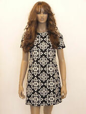 New womens black and white tapestry print shift dress size 8-14