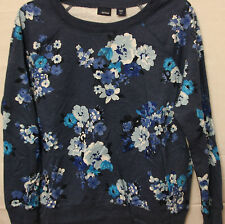 NWT Womens Basic Editions Blue Long Sleeve Floral Top S XL XXL