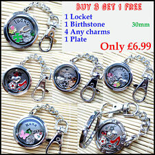 Floating Living Memory Locket PLAIN Keyring Keychain with Charms and Plate -Gift