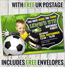 PERSONALISED FOOTBALL PARTY INVITATIONS x 5  **FREE ENVELOPES**