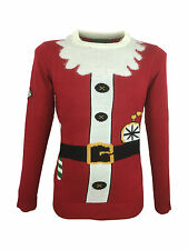 Red Christmas Xmas Santa Outfit Knitted Jumper Size XXL