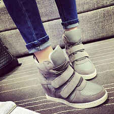 Women Lace Up Strap Sneakers Boots High-Top Hidden Heels Sport Shoes New