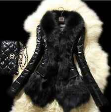 Fashion Womens Winter Faux Leather Fur Luxury Jacket Warm Coat Outwear Parka R02