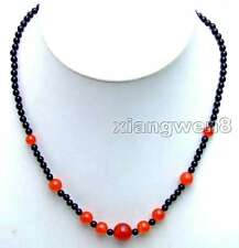 "SALE Small 4mm black round agate and Red 6-12mm jade 18"" Necklace-nec5869"