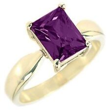 14K GOLD EP 4.5CT AMETHYST SOLITAIRE  RING sizes 5-10 u choose the size