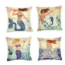 16''Cotton Linen Throw Pillow Case Cushion Cover for Sofa Watercolor Mermaid S56