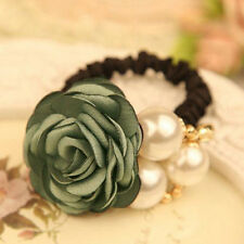 Pretty Women Satin Ribbon Rose Flower Pearls Hairband Ponytail Holder Hair Band
