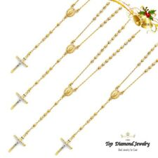 """14k Solid Yellow Gold Guadalupe Rosary Necklace Chain 26"""" 3mm"""