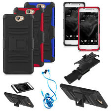 HTC One A9 / Aero Armor Hybrid Holster Belt Clip Hard Soft Stand Case + headset