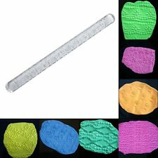 Transparent Embossing Rolling Pin Fondant Decoration Tools Various Designs SUS