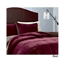 Bedroom Comforter Set 3Pc Reversible Bed In A Bag Sherpa Fleece Solid Colors