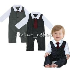 Baby Boys Wedding Formal Dressy Up Tuxedo Suit Striped Necktie Romper Outfit Set