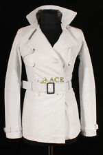 Paris White (1123) Ladies Real Cowhide Leather Trench Coat Jacket