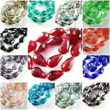 Wholesale 50Pcs Teardrop Glass Crystal Charms Jewelry Findings Spacer Loose Bead