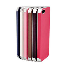 Frame Luxury Leather Chrome Hard Back Case Cover Clip for iPhone 4/ 4S 5 /5S Hot
