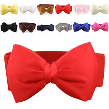 Sweet Women's Bowknot Elastic Bow Wide Stretch Buckle Waistband Waist Belt Band