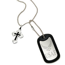 U.S. Air Force Logo + Psalm 23:4 Verse  Military Style Stainless Steel Dog Tag