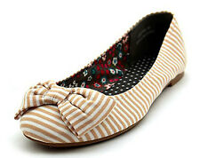 Womens Girls 50s Rockabilly GOLD STRIPE Bow Front Pumps Ballerina Flat Shoes