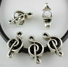 6/30/200pcs Tibetan Silver Big Hole Musical note Spacer Bead Fit Europe Bracelet