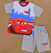 2-10  Cars Mcqueen Boys Kids Cotton Summer Pajamas Pyjama Tshirt Outfit Set