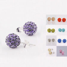Fashion 925 Sterling Silver Disco Inlay Crystal Ball Stud Earrings ZXJH200