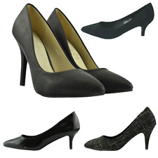 Womens Ladies Classic Kitten Heels Office, Evening Court Insole Leather Shoes