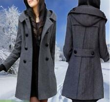 new WOMEN WOOL WINTER long section double-breasted hooded Slim coat JACKET