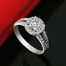 New Elegant Jewelry 18K White Gold Plated Crystal Wedding Engagement Ring Gifts