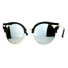 Womens Fashion Sunglasses Wing Topped Round Circle Frame Mirror Lens