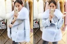 Ladies Fur Collar Long Coat Womens Outwear Winter Warm Wool Trench Jacket Blue