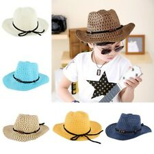 Stylish Boy Kid Summer Straw Hat Western Cowboy Jazz Sun Hat Child Beach Cap G51