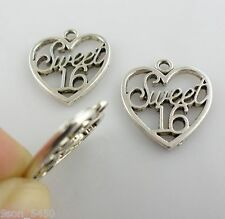 "6/30/200pcs Tibetan Silver Lettering ""Sweet 16"" Heart Charms Pendants 18x21mm"