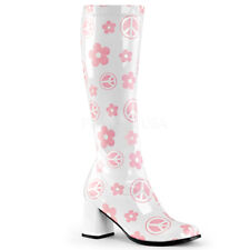 FUNTASMA GOGO-300FL GOGO WHITE PATENT BLOCK HEEL SIDE ZIP KNEE HIGH BOOT