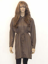 New womens khaki button down belted long sleeved shirt dress size 8-16