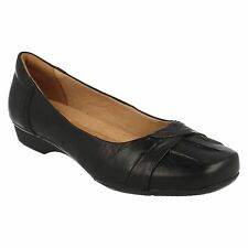 BLANCHE FRIA LADIES CLARKS BLACK LEATHER SLIP ON WIDE FIT DOLLY BALLERINA SHOES