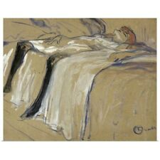 Poster Print Wall Art entitled Woman lying on her Back Lassitude, study for