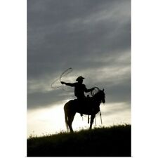 Poster Print Wall Art entitled Cowboy on horseback with lasso at sunset,