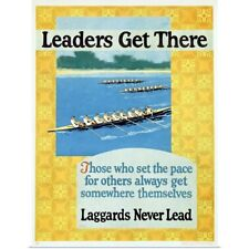 Poster Print Wall Art entitled Leaders Get There, Rowing,Vintage Poster