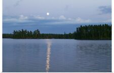 Poster Print Wall Art entitled Moon rising over Lake One, water reflection,