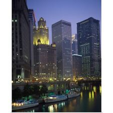 Poster Print Wall Art entitled Boats moored at the riverside, Chicago River,