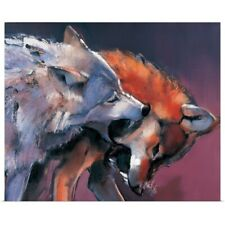 Poster Print Wall Art entitled Two Wolves (oil on canvas)