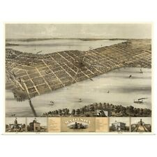 Poster Print Wall Art entitled Vintage Birds Eye View Map of Madison, Wisconsin