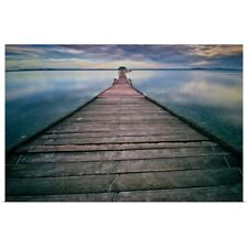 Poster Print Wall Art entitled Wooden pier at sunset.