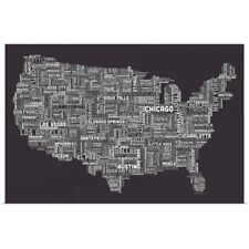 Poster Print Wall Art entitled United States Cities Text Map, Grey