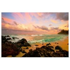 Poster Print Wall Art entitled Sunset Over A Rocky Beach, Hawaii