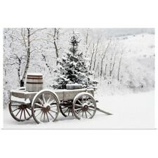 Poster Print Wall Art entitled Wooden Wagon And Trees Covered In Snow, Alberta,