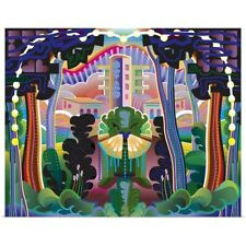 Poster Print Wall Art entitled Fantasy Forest and Buildings Landscape