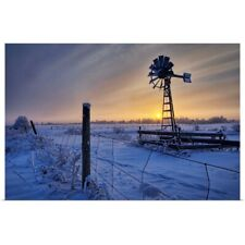 Poster Print Wall Art entitled Hoar Frost On A Foggy Winter Sunset, Alberta,