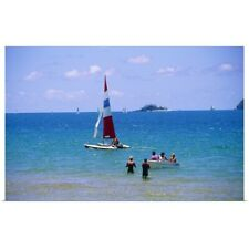 Poster Print Wall Art entitled Sailing in the blue clear waters of Mission