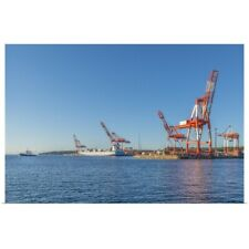 Poster Print Wall Art entitled Container ship ready for a crane to unload cargo